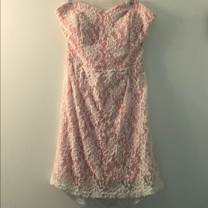 Dresses & Skirts - Strapless White/Pink Floral Lace Dress w/ Back Bow